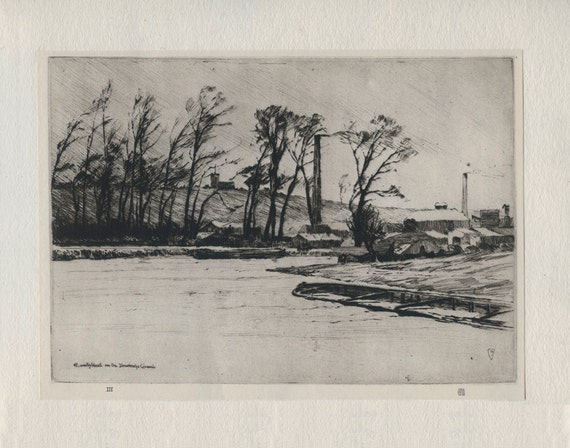 A Wintry Blast on the Stourbridge Canal, Worcestershire, 1925, Vintage Print from an Etching by Sir Frank Short, R.A. P.R.E. Plate 3