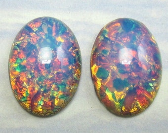 2 Vintage Glass Cabochon Pink Fire Opal Stones Harlequin 25x18mm S-12-R