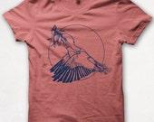 Womens Tshirt, Bird Shirt, Good Luck, Kingfisher, Screenprint, Graphic Tee - Coral
