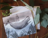 The Sea Cards - Stationery Set of 8 Folded Cards - Watercolor - Whale - Moby Dick - Nautical - Ocean