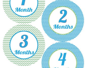 Baby Month Stickers Baby Boy Monthly Stickers Blue Green Chevron First Year Month Stickers Baby Shower Gift and Photo Prop - Sam