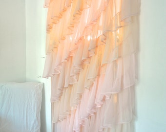 Ruffled Sheer Bedroom Curtain