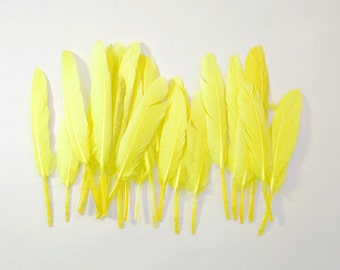 Middling Duck Quills, Stiff loose feathers - Neon Yellow (20pcs)