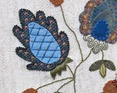 Jacobean Flower Wool Applique, Hand Embroidery / Pattern / Jac 002