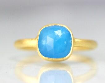 Gold Blue Gemstone Ring - Cushion Cut Ring - Blue Quartz Crystal Ring - Gold Cushion Ring - Quartz Crystal Gold Ring - Dainty Blue Ring