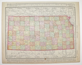 Antique Map of Kansas Nebraska Map 1900 Midwest State Map, Vintage Wall Art Gift for Couple, Geography Gift for Teacher, KS Map NE Map