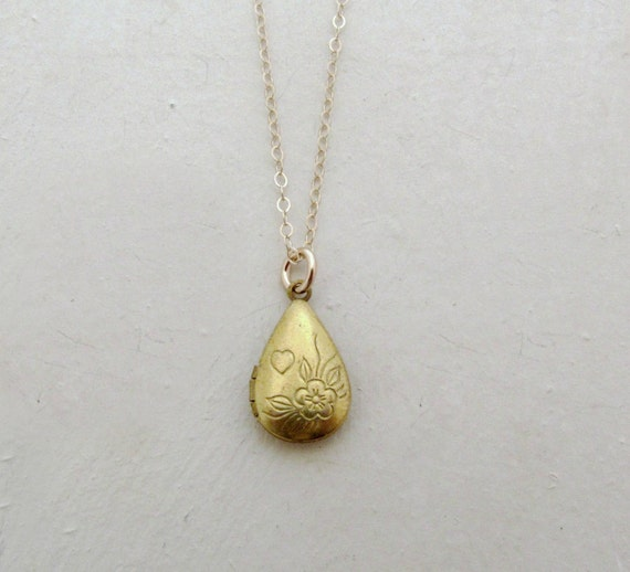 gold teardrop locket necklace flower locket by