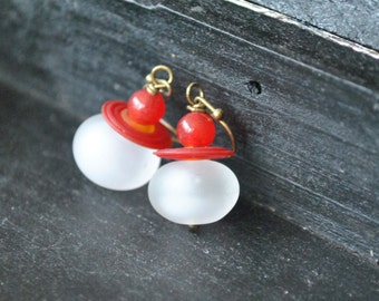 Snow White and Cherry Red Glass Earrings, Artisan Jewelry, Light Weight Hollow Glass Earrings