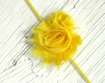 Bright Yellow Shabby Chiffon Infant Headband- Girls Headband- Baby Headband- Teen Headband- Ready To Ship