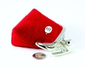 Red cashmere and black flax linen small purse...unique Breathe Imagine Believe mother of pearl charm...luxury cashmere coin purse