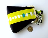Handmade patchwork  purse in charcoal gray with citron 1950s retro print...coin credit card ID jewelry Rx purse...organic fabrics...ON SALE