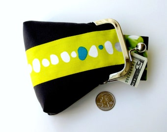 Patchwork  purse in charcoal gray with citron 1950s retro print...coin credit card ID jewelry Rx purse...organic fabrics...last one!