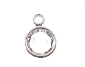 6mm Clear Crystal Rhodium Plated  Swarovski Crystal Channel Charm - April Birthstone 10 pcs lowest price
