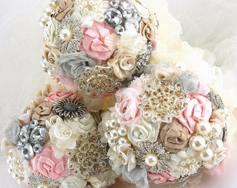 Bridesmaids Bouquets, Blush, Pink, Grey, Tan,Champagne,Ivory,Brooch Bouquets,Vintage Style, Maid of Honor, Elegant Wedding, Pearls, Crystals