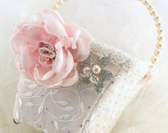 Flower Girl Basket, Ivory, Silver, Pink, Blush, Pearls, Lace, Square Basket, Brooch, Crystals, Elegant, Vintage, Gatsby Wedding