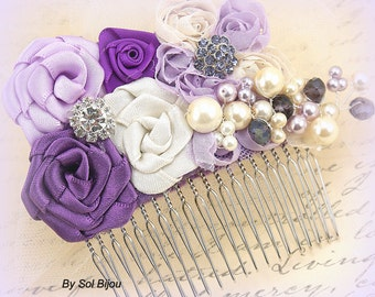 Hair Comb, Purple, Lilac, Ivory, Bridal, Elegant Wedding, Fascinator, Maid of Honor, Flower Girl, Crystals, Pearls, Vintage Style, Gatsby