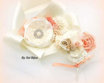 Boutonniere, Wrist Corsage, Ivory, Coral, Tan, Champagne, Button Hole, Elegant, Mother of the Bride, Groom, Father, Pearls, Crystals