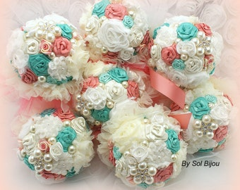 Bridesmaids Bouquets, Turquoise, Aqua, Blue, Coral, Ivory, Brooch Bouquets, Elegant Wedding, Bridesmaids, Crystals, Pearls, Vintage Style