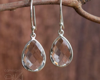 Silver Crystal Quartz Bridal Earrings - Bridesmaids Earrings - 925 Silver