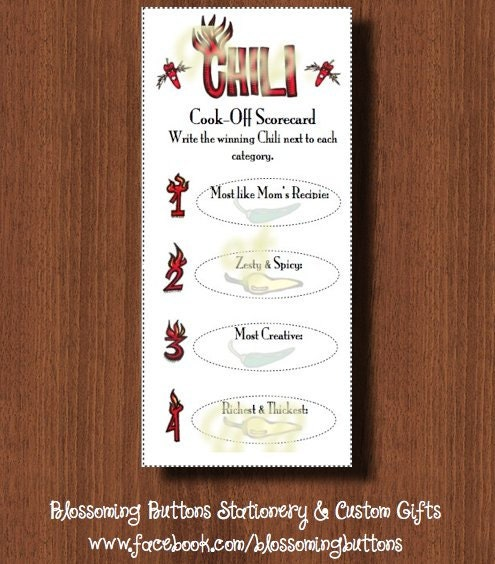 Printable Chili Cook Off Scorecards By Blossomingbuttons