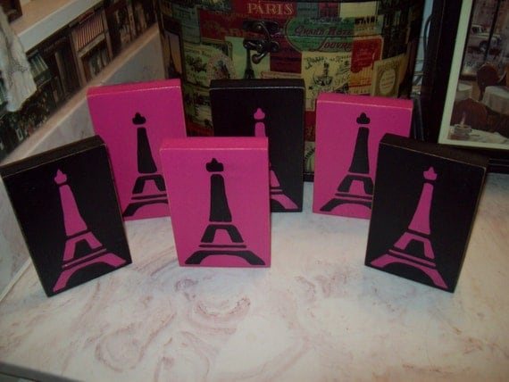 Items similar to hot pink and black eiffel tower signs for Hot pink and black bathroom ideas