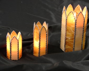 Stunning Gothic Arch Candle Holder Set Stained Glass 3 tier table art