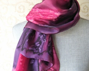 Silk Scarf Hand Dyed in Plum and Raspberry