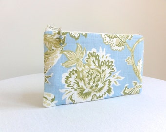 Floral Clutch in Pale Blue & Apple Green / Zipper Bag - READY TO SHIP