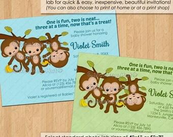 TRIPLET Boy Monkey Baby Shower Invitations / triplets boys blue green neutral monkeys swinging bananas / DIGITAL INVITATION