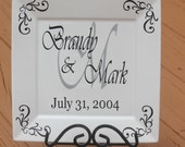 YOUR COLORS Personalized Wedding Anniversary Gift Square White Plate