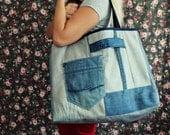 large tote bag . denim tote bag . shopping bag . book bag . casual bag . canvas shopper . shoulder bag . shopper bag . large purse