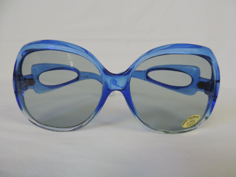 Big Blue Glasses Frames : vintage oversize sunglasses 70s big blue glasses frames
