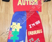 Autism awareness set boys Boutique custom painted 12 18 24 2 3 4 5 6