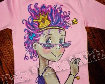 Hand Painted f-a-n- c-y shirt handpainted size 6 12 18 24 2 3 4 5 6 ETSYKIDS Boutique custom