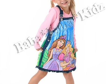 Barbie custom jumper dress hand painted set size 12 18 2 3 4 5-6 Boutique custom