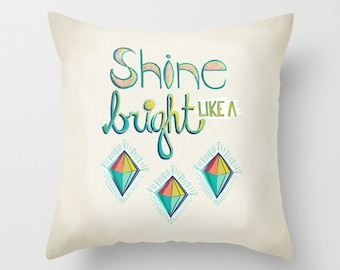 Modern Kids Pillow Cover, Shine Bright Like A Diamond, Geometric Accent Pillow, Teen Decor, Dorm Decor, Bright Pillow, Gifts For Girls
