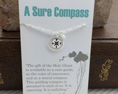 Compass Necklace with Pearl -  small silver compass charm - Graduation Gift -  Baptismal Gift Idea Moral Compass Journey Travelers Necklace