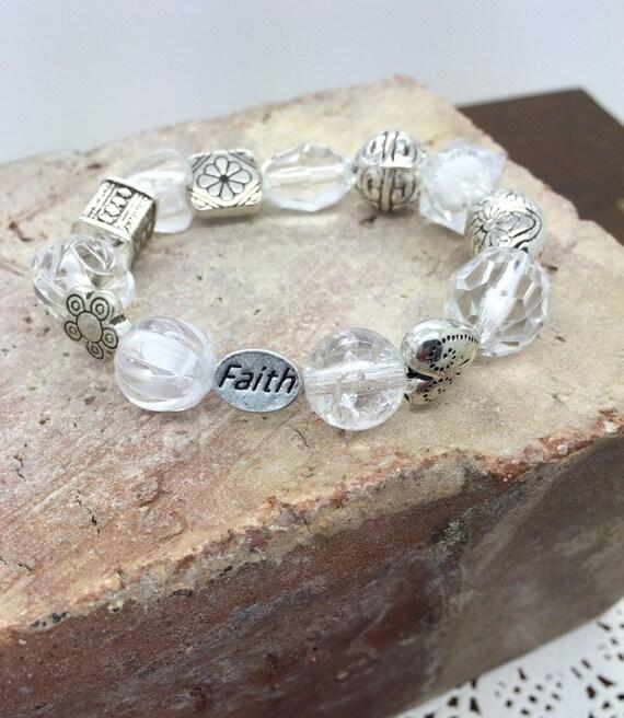 Baptismal bracelet  with FAITH bead -  Primary Bracelet  Baptismal Gift girl's  white and silver beaded bracelet -  carded for gift giving