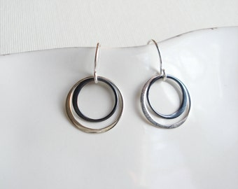 Two Circle Earrings Sterling Silver Oxidized Earrings Black White Circle Earrings Everyday Dangle Earrings Drop Silver Earrings Geometric