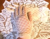 Vintage ladies nylon dress gloves,Sexy Sheer white with honeycomb design,about size 7-8,clean,smoke free,