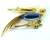 Vintage MONET Bird Brooch Gold tone with Rhinestones Bridesmaid Jewelry Bridesmaid Pin
