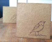 Mini Card Set of 12 Stamped Bird Silhouette with Envelopes