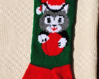 Hand knit kitty cat Christmas stocking