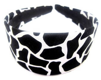Black White Giraffe Print Headband 2 Inch