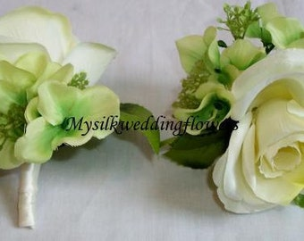 Ivory Rose, Green Hydrangeas, Queen Anns Lace, Silk Flower Corsages