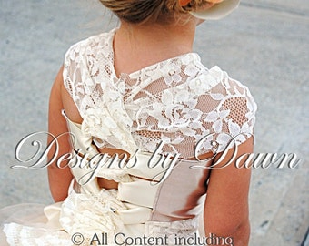 Champagne, Ivory and Beige with Lace Flower girl dress. Size 6m-12 Girls. Custom Colors Available