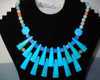 Cleopatra Fan Necklace, Turquoise/Multi Stone/Lapis/Howlite- Magnesite, June 2013