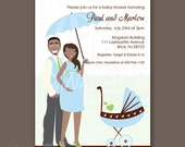 Cute Pregnant Mom and Dad with Umbrella and Stroller - Baby Shower Invitations - African American