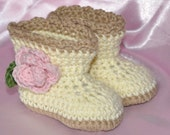 Baby Booties made with Cotton, Baby Booties with flowers