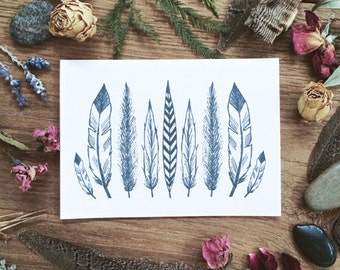 FEATHERS BLANK CARDS (white) set of 6 w/envelopes. hand drawn illustration. Nature inspired. Gift set. Stationery